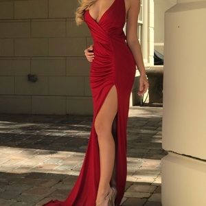 Abyss by Abby Mink Red Gown Dress XS